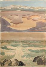 """2 Kronenberg, Fritz (1901-1960) """"Sylt - Mudflat landscape with dunes"""" 1937 and """"Beach"""" 1934, watercolor, each b.l. sign./dat./inscr., 45.7x61/50.5x75.5cm, partly yellowed"""