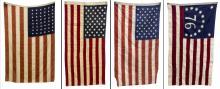 (4) U.S. FLAGS, ONE 48 STAR HORSTMANN