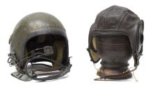 (2) WWII & POST KOREA MILIARY PILOTS HELMETS