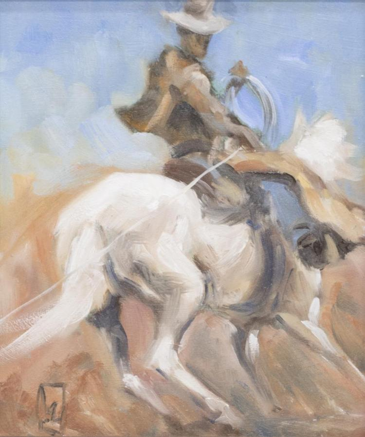 VAL MAYERIK (NY 1950) ILLUSTRATION ART COWBOY