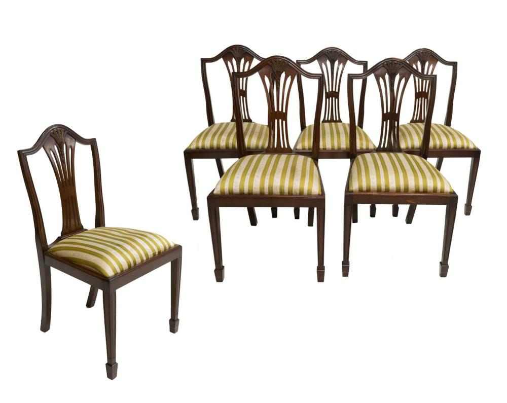 (6) HEPPLEWHITE STYLE SHIELD-BACK DINING CHAIRS