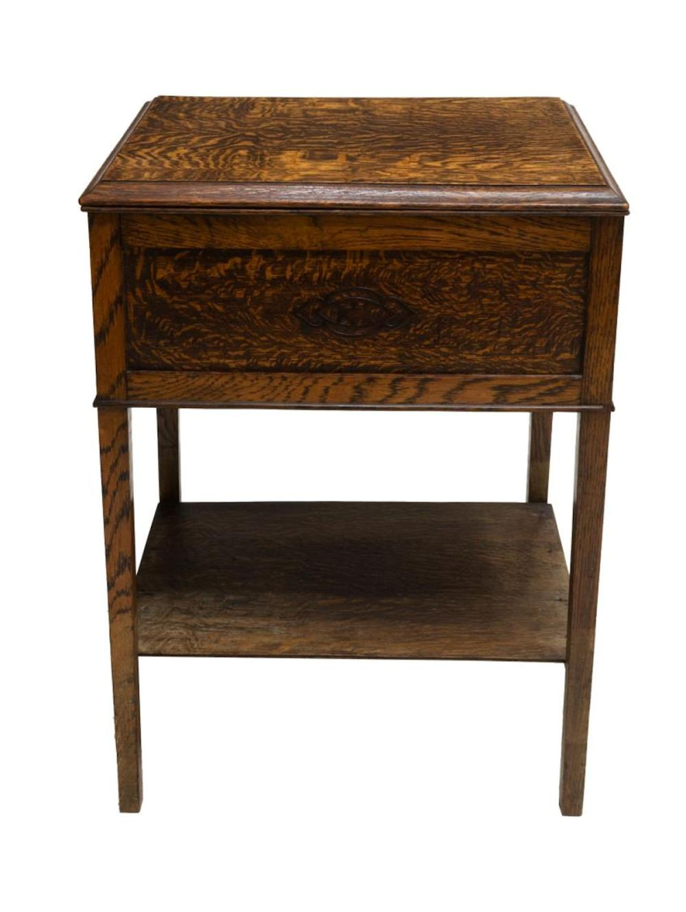 Tiger Oak Lift Top Sewing Work Table