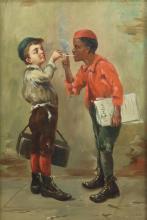 J.W. BROWN NEWSPAPER BOYS GENRE PAINTING