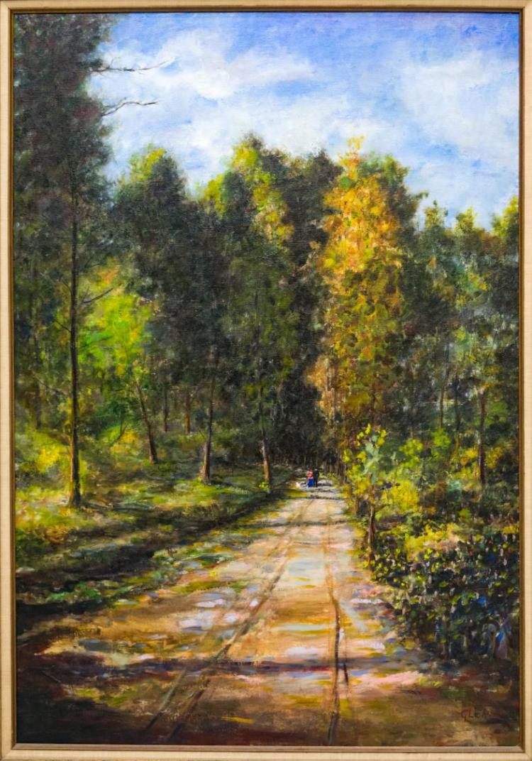 ANGELO GLERIA OIL PAINTING, FOREST PATH W/FIGURES