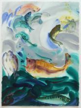 MELISSA MILLER (TEXAS, B.1951) FISH W/C PAINTING