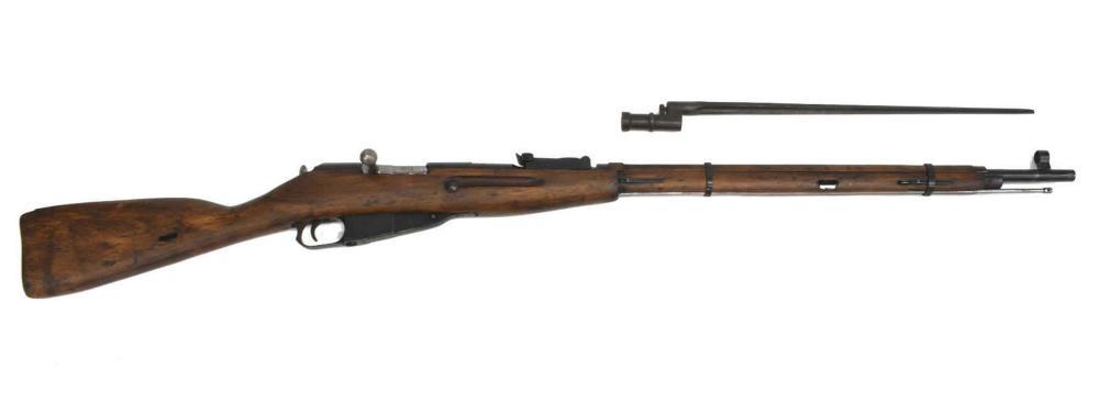 Lot 411: RUSSIAN MOSIN NAGANT 91/30 WWII RIFLE & BAYONET