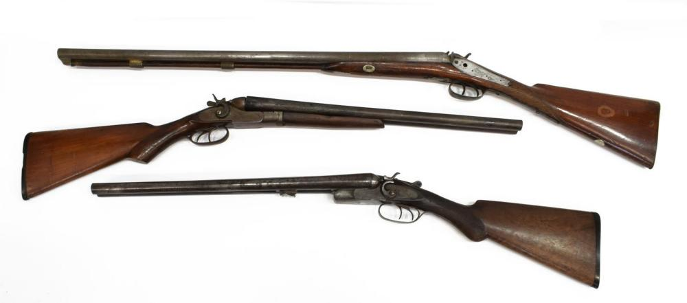 Lot 416: (3) PERCUSSION SHOTGUNS FOR PARTS