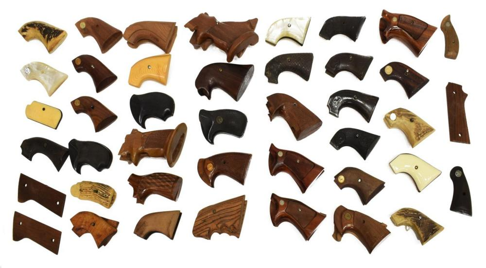 (42) REVOLVER & PISTOL GRIPS, 11 PAIR COLT, OTHERS
