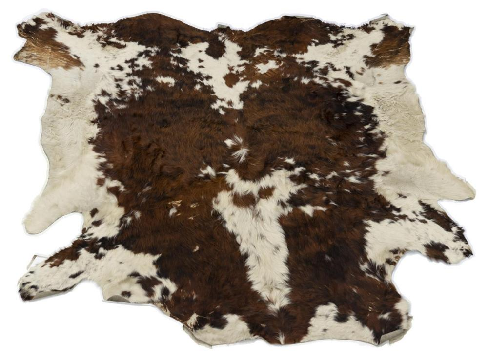 "LARGE COWHIDE BROWN & WHITE, APPROX 100"" X 93"""
