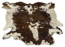"""Lot 431: LARGE COWHIDE BROWN & WHITE, APPROX 100"""" X 93"""""""