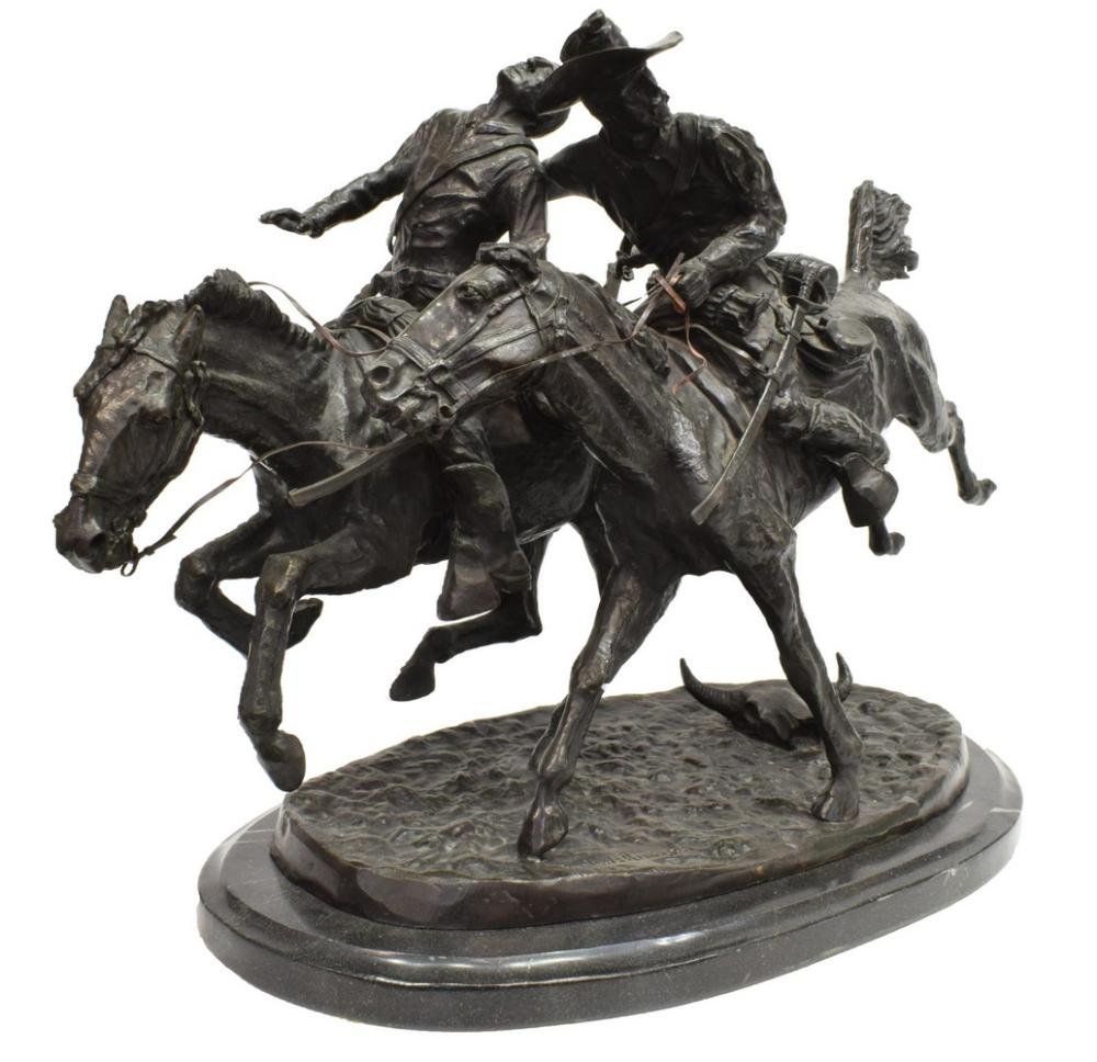 'WOUNDED BUNKIE' WESTERN BRONZE AFTER REMINGTON
