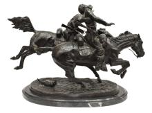 Lot 432: 'WOUNDED BUNKIE' WESTERN BRONZE AFTER REMINGTON