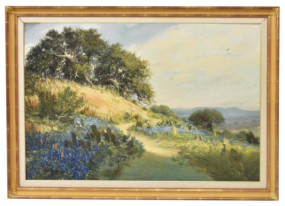 Lot 437A: JOHN BARGER (B.1953) BLUEBONNET LANDSCAPE PAINTING