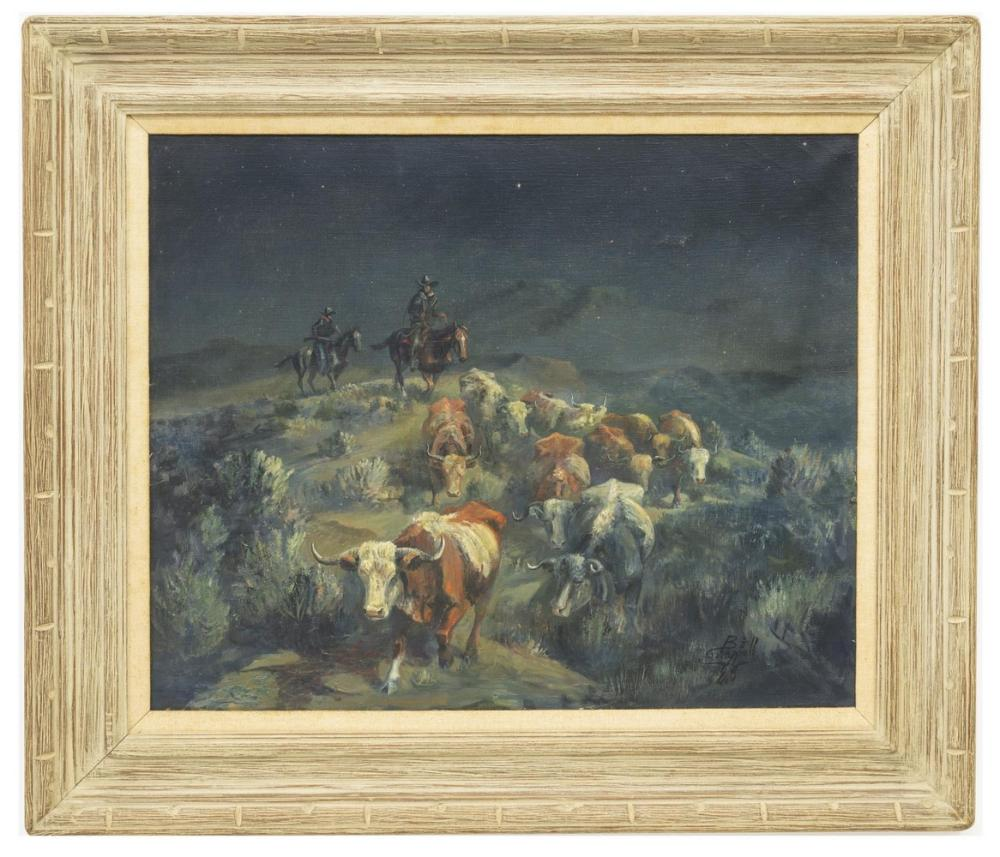 Lot 442: BILL CHAPPELL (1919-2010) NOCTURNE CATTLE DRIVE