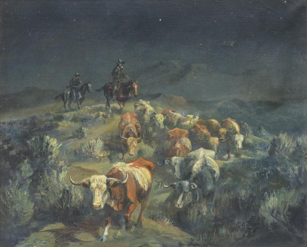 BILL CHAPPELL (1919-2010) NOCTURNE CATTLE DRIVE