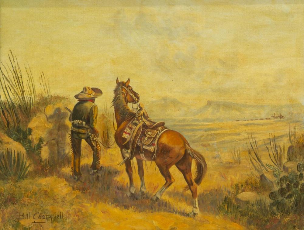 BILL CHAPPELL (1919-2010) WESTERN OIL PAINTING