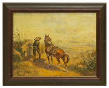 Lot 443: BILL CHAPPELL (1919-2010) WESTERN OIL PAINTING