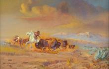 Lot 444: BILL CHAPPELL (1919-2010) BUFFALO HUNT PAINTING