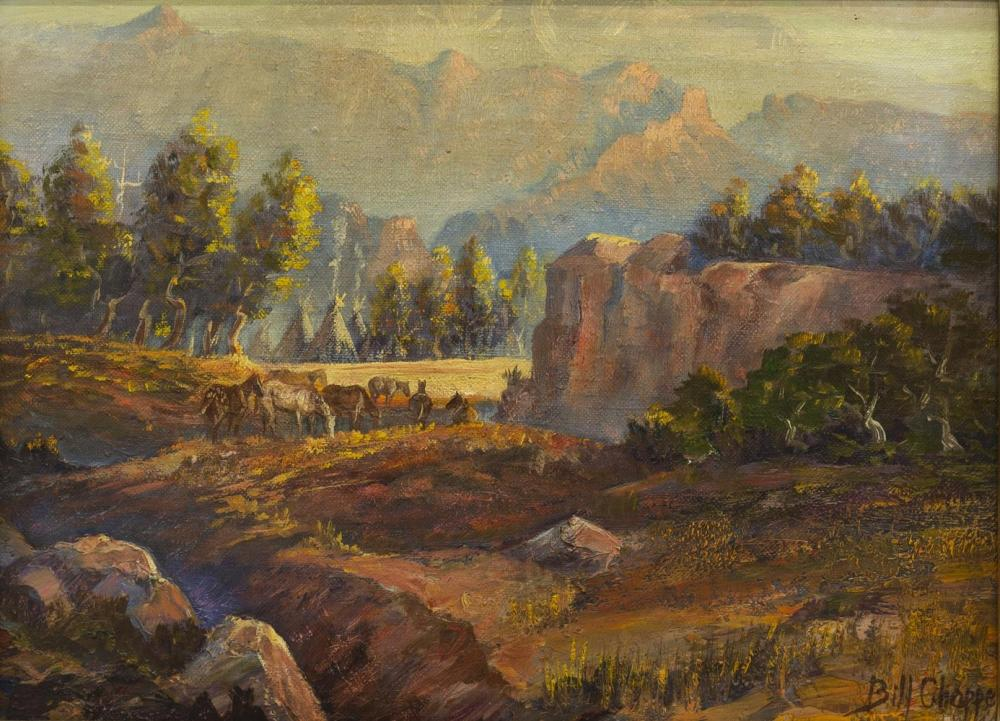 BILL CHAPPELL (1919-2010) WESTERN CAMP PAINTING