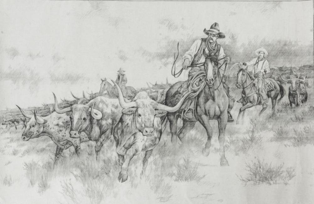 LARRY FANNING(1938-2014)COWBOYS, LONGHORNS DRAWING