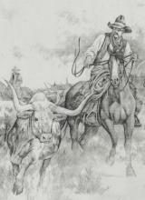 Lot 446: LARRY FANNING(1938-2014)COWBOYS, LONGHORNS DRAWING
