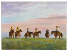 Lot 447: CHARLES SHAW (1941-2005) WESTERN, MAKING PLANS