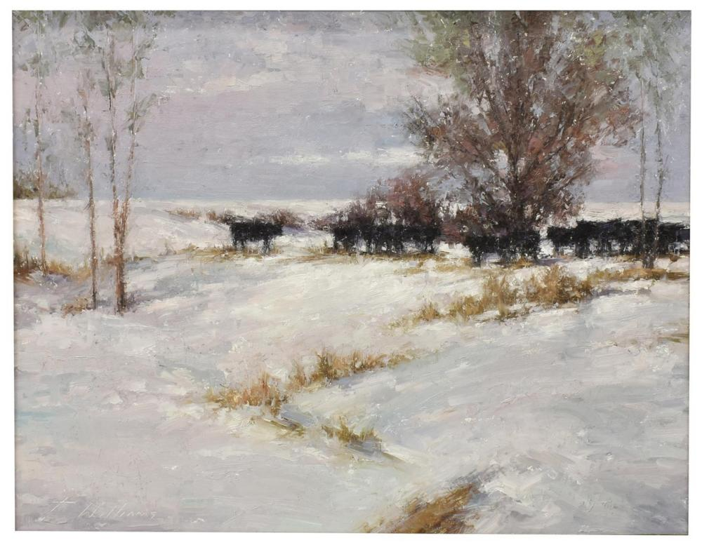"TODD WILLIAMS (B.1967) ""WINTER PATTERNS"" CATTLE"