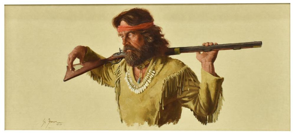 "Lot 452: GERALD FARM (B.1935) MAN WITH RIFLE, ""INDEPENDENT"""