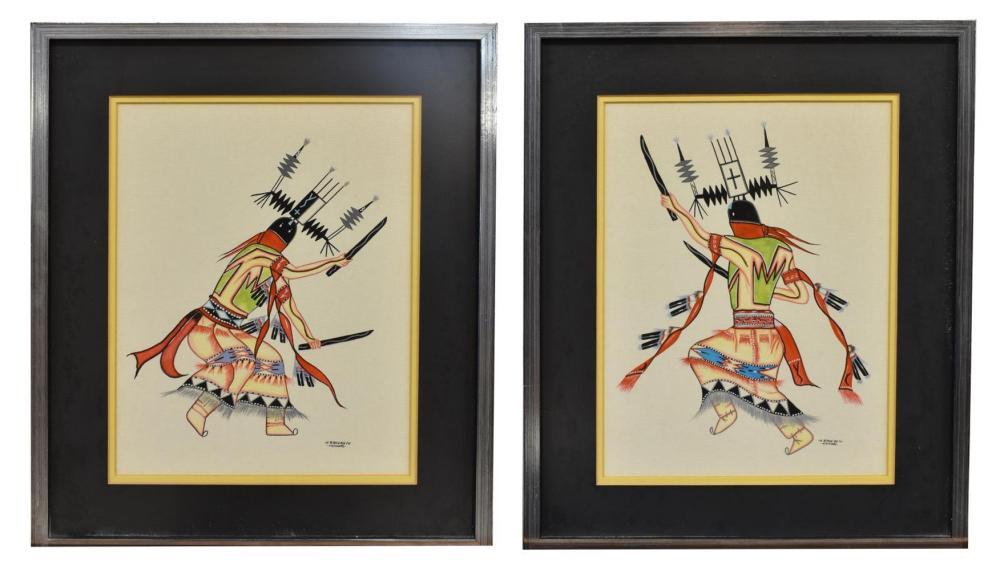 (2) SIGNED KIOWA DANCER WATERCOLOR PAINTINGS