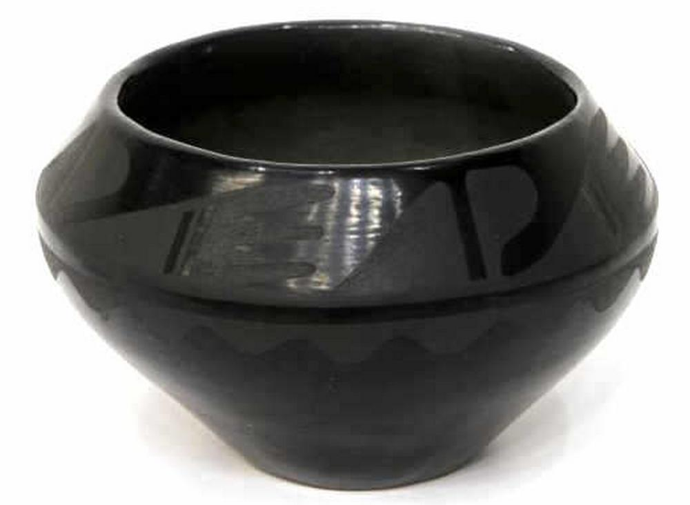 "Lot 463: MARIE MARTINEZ BLACK BLACK ON BLACK BOWL 4"" x 6.5"""