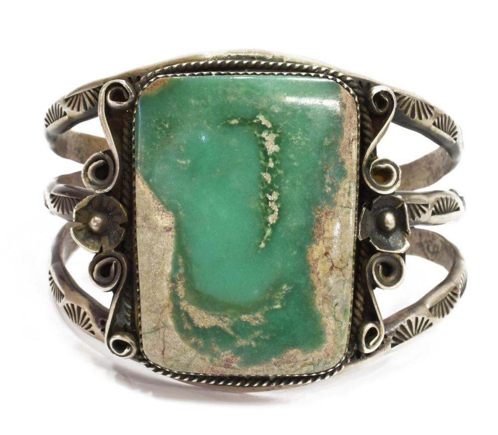 Lot 468: VICTOR HICKS NAVAJO STERLING & TURQUOISE CUFF