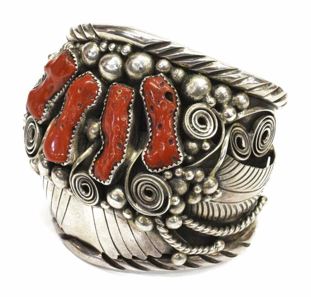 NATIVE AMERICAN STERLING & RED CORAL CUFF BRACELET