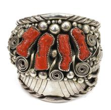 Lot 470: NATIVE AMERICAN STERLING & RED CORAL CUFF BRACELET