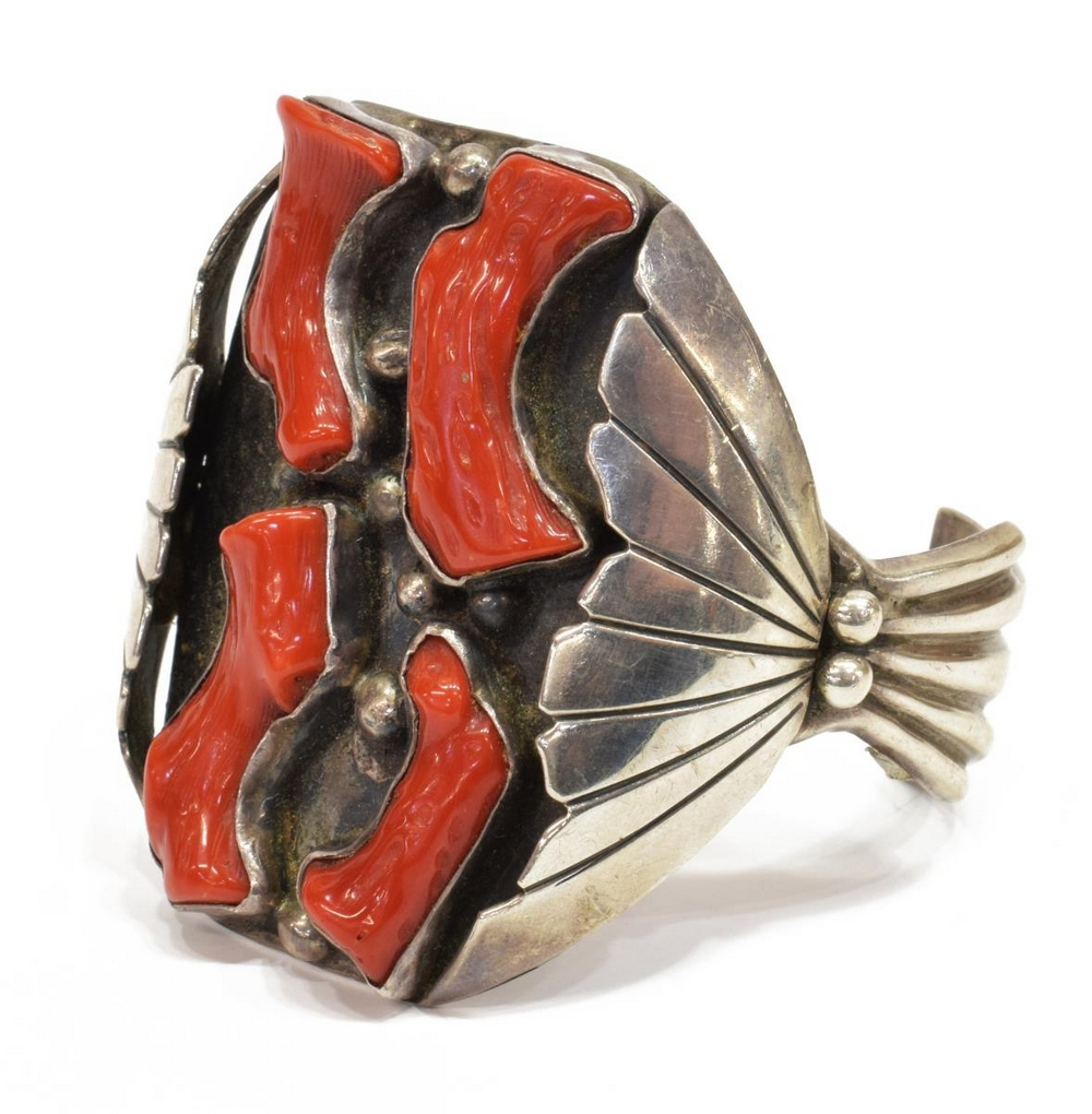 FRED BACA NAVAJO STERLING & CORAL CUFF BRACELET