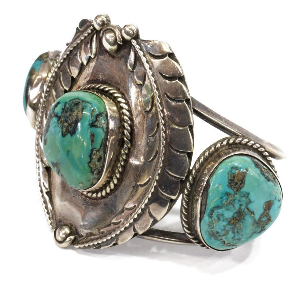 SOUTHWEST SILVER & TURQUOISE CUFF BRACELET