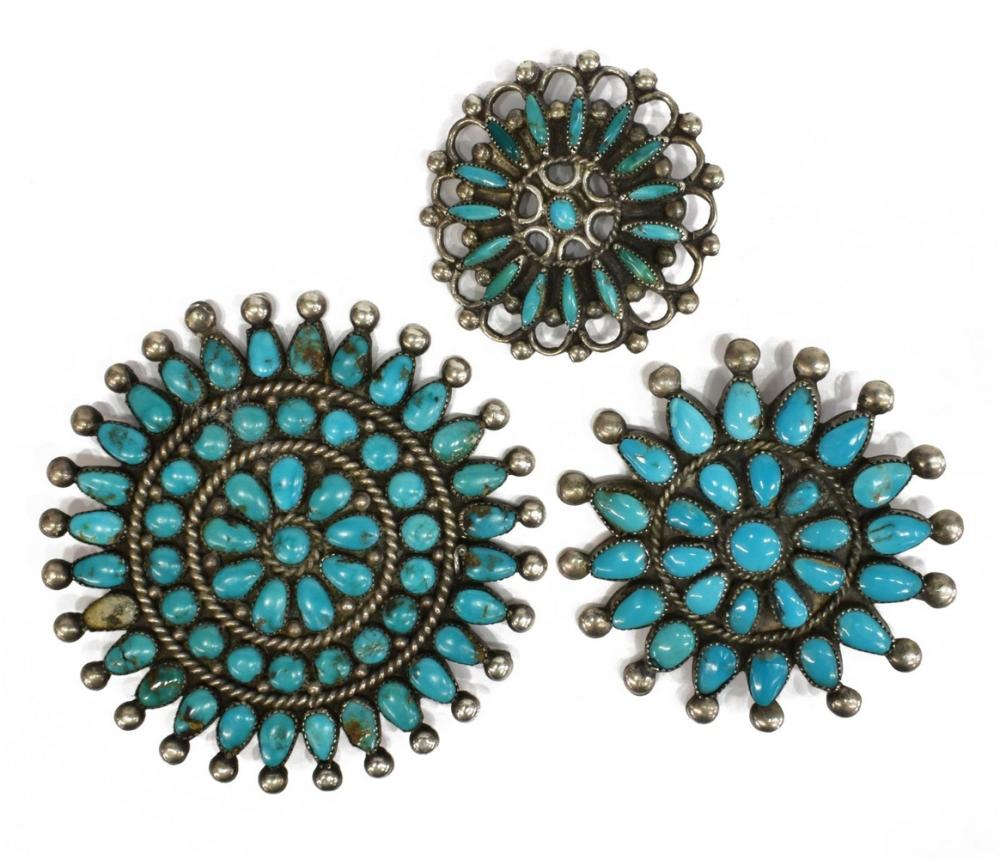 (3) NATIVE AMERICAN SILVER TURQUOISE CLUSTER PINS