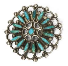 Lot 477: (3) NATIVE AMERICAN SILVER TURQUOISE CLUSTER PINS
