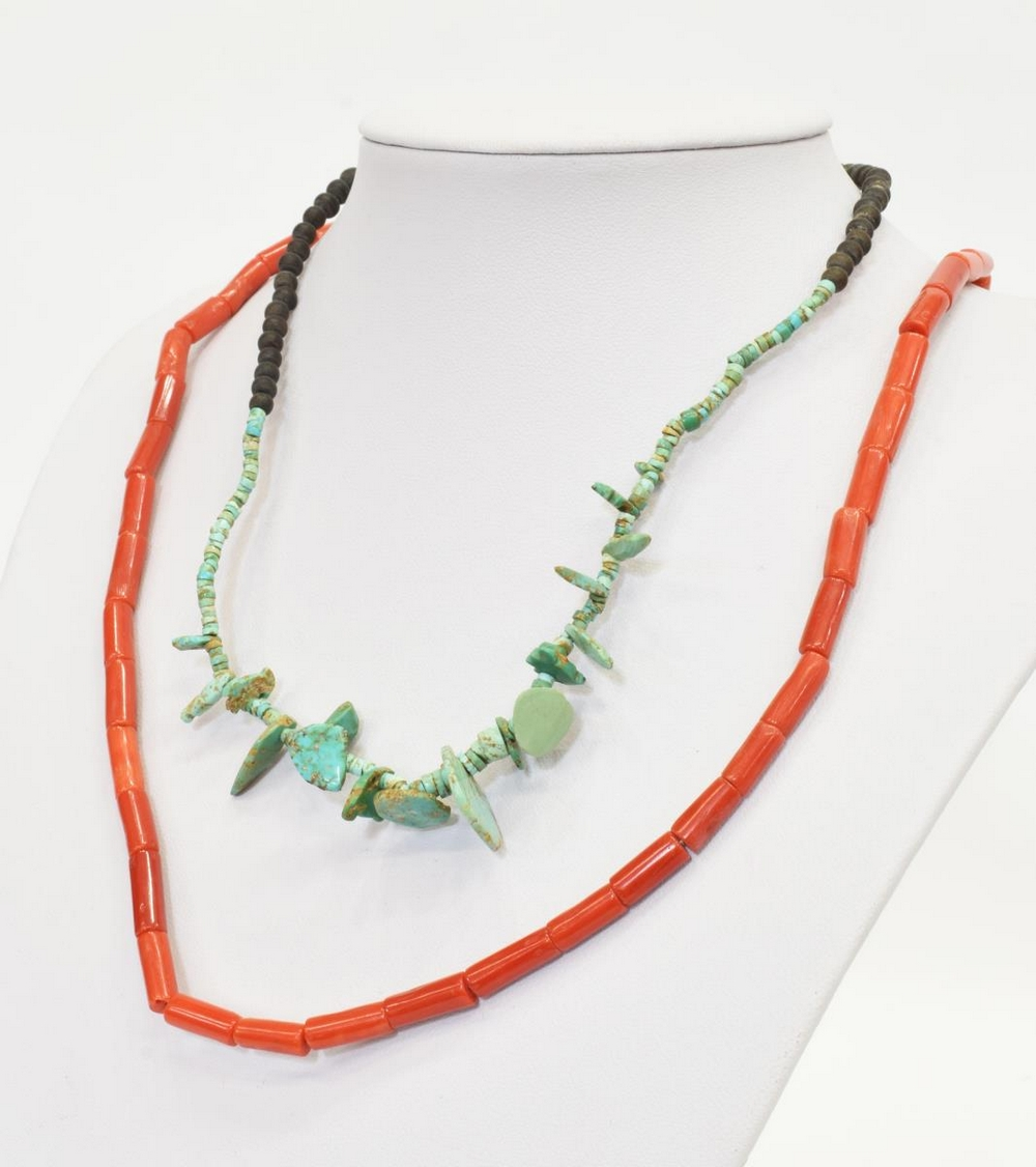 (2) SOUTHWEST RED CORAL TURQUOISE BEADED NECKLACES