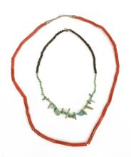 Lot 478: (2) SOUTHWEST RED CORAL TURQUOISE BEADED NECKLACES