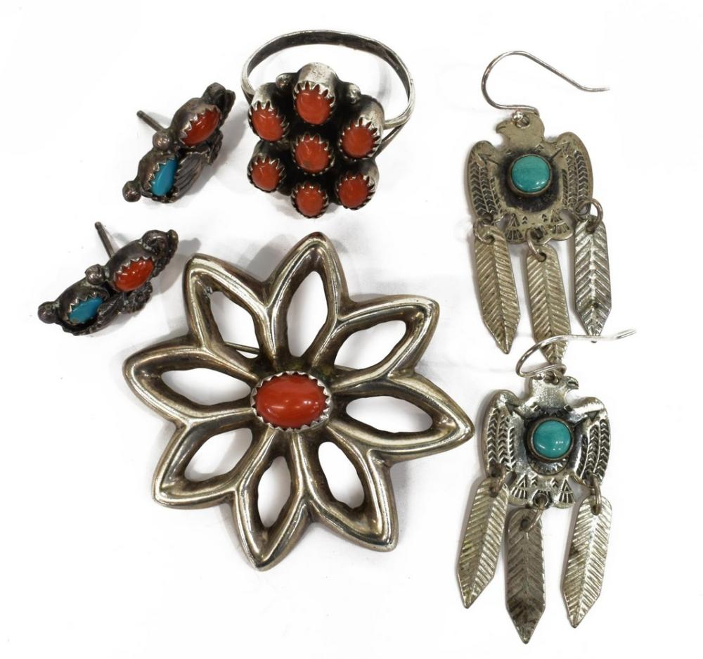 (LOT) NATIVE AMERICAN SILVER PIN, RING, EARRINGS