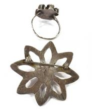 Lot 481: (LOT) NATIVE AMERICAN SILVER PIN, RING, EARRINGS