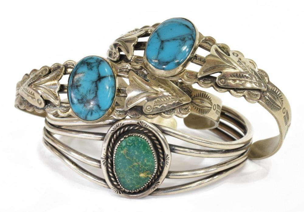 (3) SOUTHWEST SILVER & TURQUOISE CUFF BRACELETS