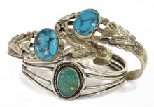 Lot 482: (3) SOUTHWEST SILVER & TURQUOISE CUFF BRACELETS