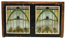 Lot 484: FRAMED ART NOUVEAU DOUBLE STAINED GLASS WINDOW