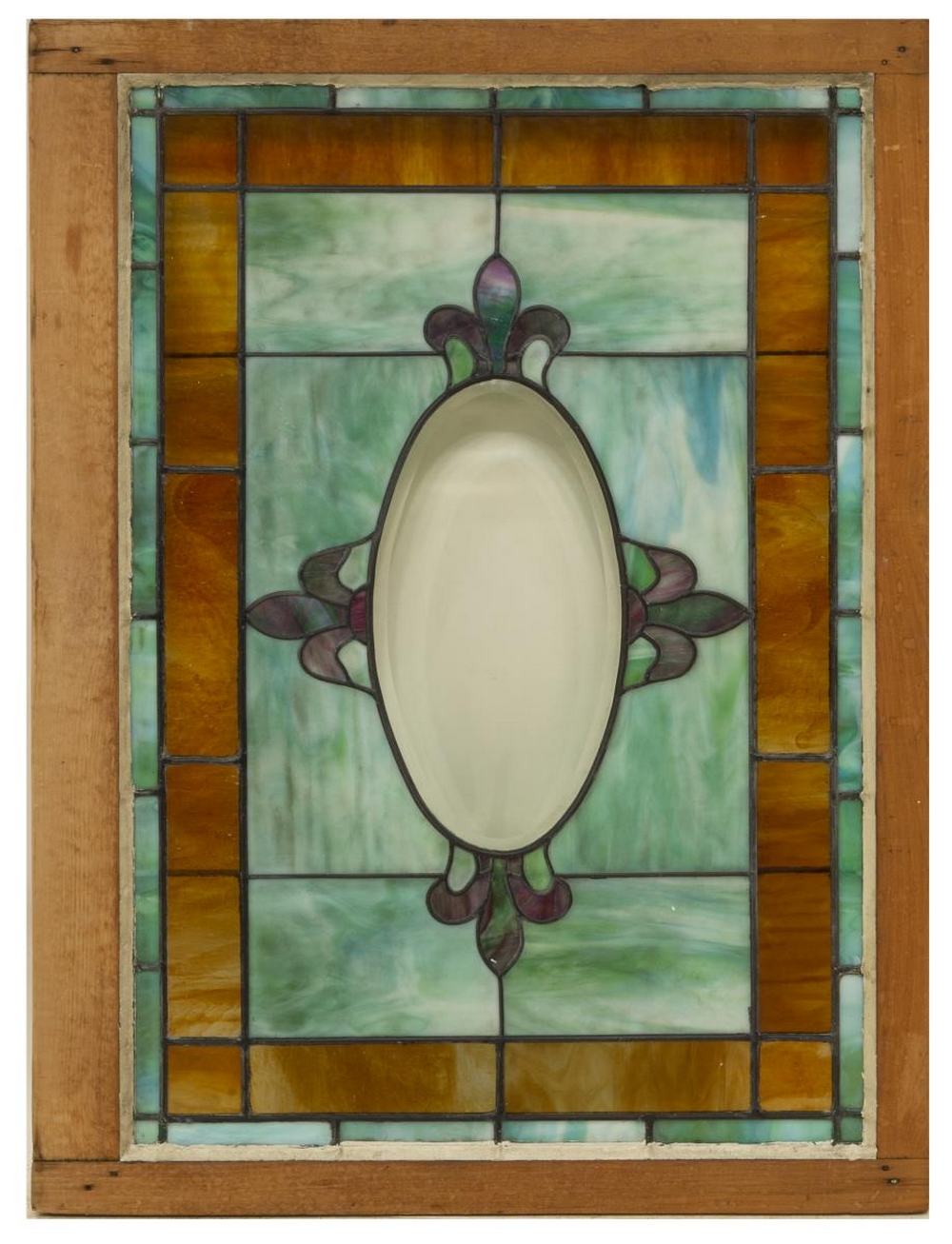 Lot 485: FRAMED STAINED & LEADED SLAG GLASS WINDOW
