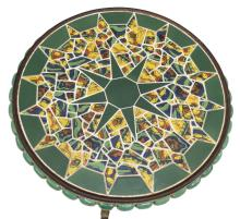 Lot 491: MALIBU 'MODEL T' TILE TOP MOSAIC TABLE, C.1930s