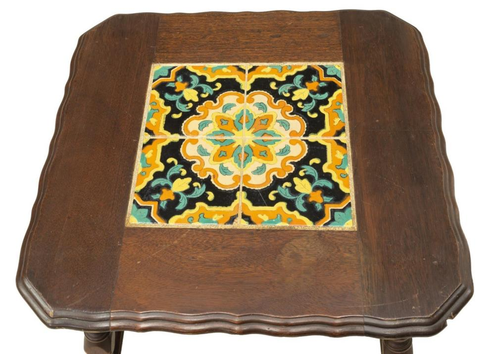 Lot 493: CALIFORNIA MISSION OAK TILE-TOP TABLE, C. 1930s