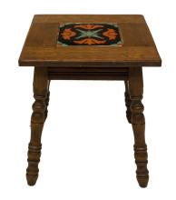 Lot 494: CALIFORNIA MISSION STYLE TILE TOP OAK SIDE TABLE