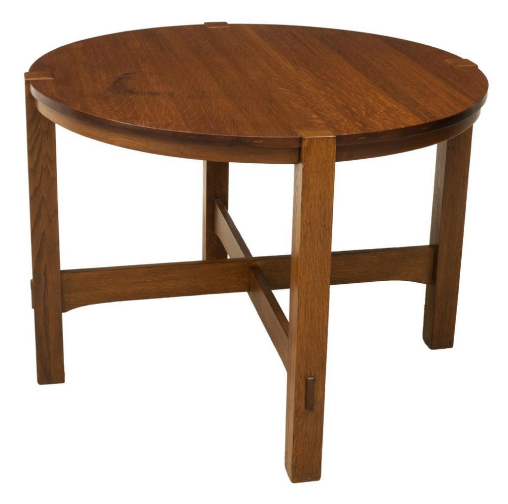 STICKLEY BROS. QUAINT LABEL CRAFTSMAN OAK TABLE