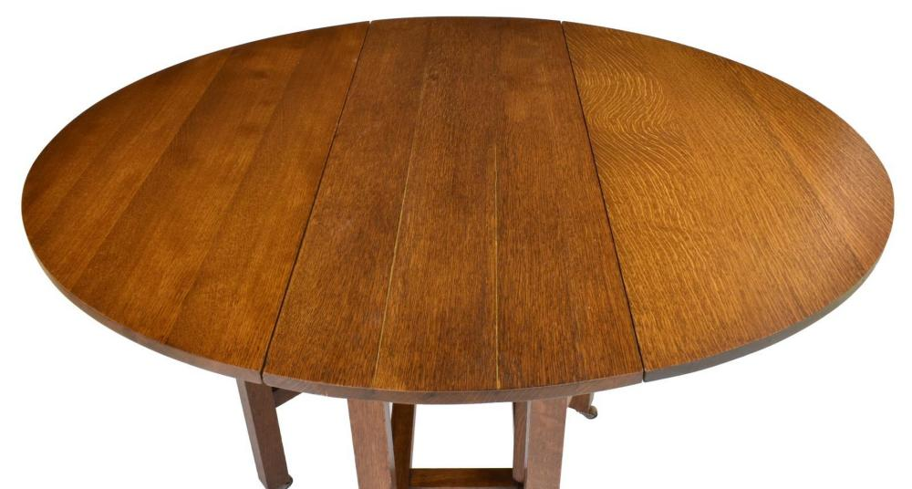 Lot 498: LIMBERT CRAFTSMAN OAK DROP LEAF TABLE, MODEL 180